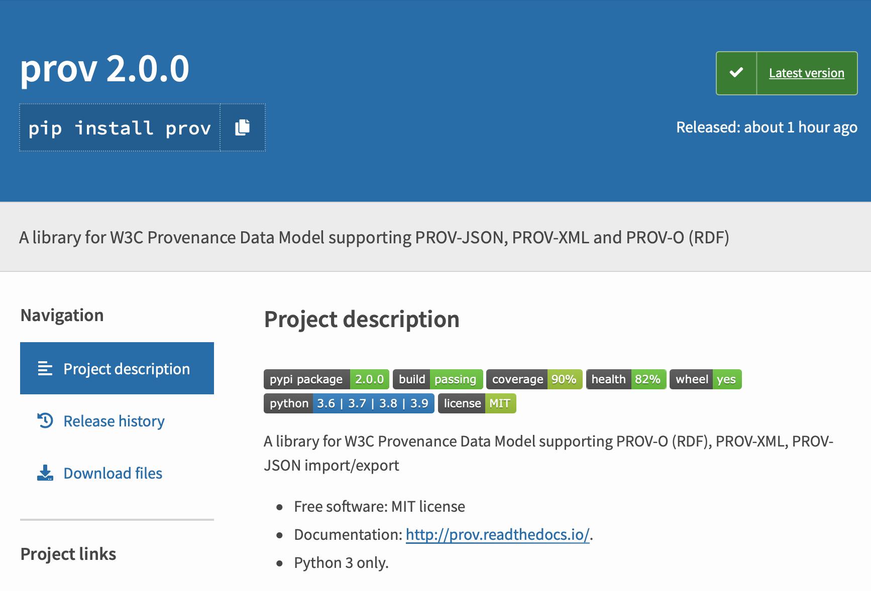 PROV Python package on pypi.org