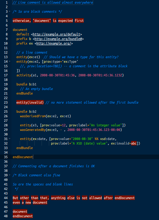 PROV-N JavaScript Editor Screenshot