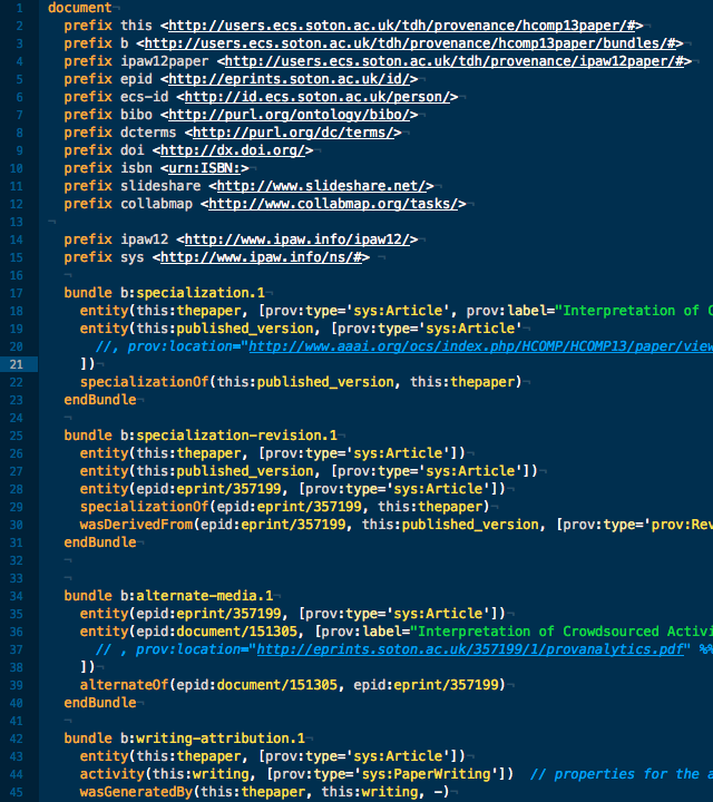 Screenshot of TextMate with PROV-N syntax highlighting